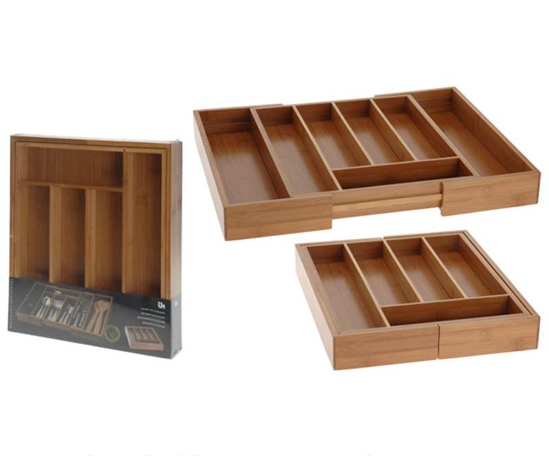 besteckkasten ausziehbar bambus besteckeinsatz holz schublade,