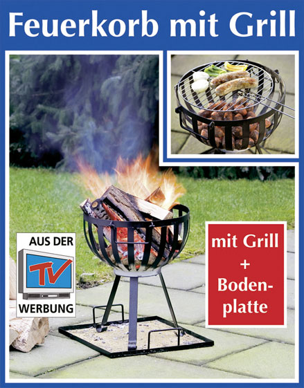 wenko feuerkorb mit grill aus stahl grillrost und. Black Bedroom Furniture Sets. Home Design Ideas